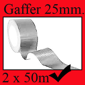SILVER GAFFER CLOTH DUCT TAPE 25mm x 50M VERY STRONG X2